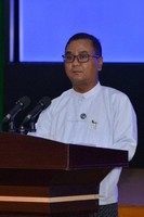 This image shows Zaw Min Tun, spokesman for the State Administration Council (SAC) of Myanmar. (Courtesy of the Ministry of Information, Myanmar)