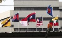 In this April 22, 2021 file photo, flags of member countries are seen at the ASEAN Secretariat in Jakarta, Indonesia. (AP Photo/Tatan Syuflana)