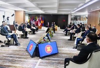 In this April 24, 2021 file photo released by the Indonesian Presidential Palace, Myanmar's Commander-in-Chief Senior General Min Aung Hlaing, bottom right, and ASEAN leaders convene during their meeting at the ASEAN Secretariat in Jakarta, Indonesia. (Laily Rachev, Indonesian Presidential Palace via AP)