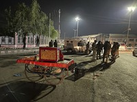 Indian soldiers cordon off an area where a street vendor was shot, in Srinagar, in Indian controlled Kashmir, on Oct. 16, 2021. (AP Photo)