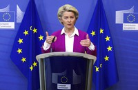 European Commission President Ursula von der Leyen addresses a media conference regarding COVID-19 vaccines at EU headquarters in Brussels, on Oct. 18, 2021. (Yves Herman, Pool Photo via AP)
