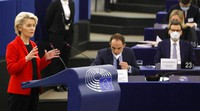 European Commission president Ursula von der Leyen delivers her speech on Oct. 19, 2021 at the European Parliament in Strasbourg, eastern France. (Ronald Wittek, Pool Photo via AP)