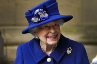 In this Oct. 12, 2021 file photo, Britain's Queen Elizabeth II, Patron, leaves after attending a Service of Thanksgiving to mark the Centenary of the Royal British Legion at Westminster Abbey, in London. (AP Photo/Frank Augstein)