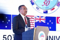 In this photo released by Malaysia Defense Ministry, Malaysian Defense Minister Hishammuddin Hussein speaks during the opening of the Five Power Defense Arrangements (FPDA) meeting in Kuala Lumpur, Malaysia, on Oct. 21, 2021. (Malaysia Defense Ministry via AP)