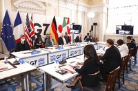 G7 trade summit at Mansion House, in London, on Oct. 22, 2021. (Henry Nicholls/Pool Photo via AP)