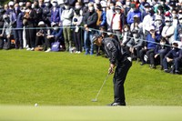 Hideki Matsuyama of Japan putts on the first green during the third round of the Zozo Championship golf tournament at Accordia Golf Narashino Country Club on Oct. 23, 2021 in Inzai, Chiba Prefecture, Japan. (AP Photo/Tomohiro Ohsumi)