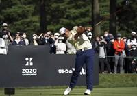 Hideki Matsuyama of Japan hits his tee shot on the ninth hole during the final round of the Zozo Championship golf tournament at Accordia Golf Narashino Country Club on Sunday, Oct. 24, 2021, in Inzai, Chiba Prefecture, Japan. (AP Photo/Tomohiro Ohsumi)