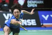Japan's Akane Yamaguchi returns a shot to South Korea's An Seyoung, during the women's single final match of the Badminton Victor Denmark Open 2021 in Odense, Denmark, on Oct. 24, 2021. (Claus Fisker/Ritzau Scanpix via AP)