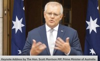 In this image made from video released by ASEAN Business Advisory Council Brunei, Australian Prime Minister Scott Morrison delivers a keynote speech from Canberra on Oct. 25, 2021. (ASEAN Business Advisory Council Brunei via AP)