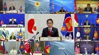 In this image from video released by Brunei ASEAN Summit, Japan's Prime Minister Fumio Kishida, center, speaks in a virtual meeting of ASEAN-Japan Summit on the sidelines of the Association of Southeast Asian Nations (ASEAN) summit with the leaders, on Oct. 27, 2021. (Brunei ASEAN Summit via AP)