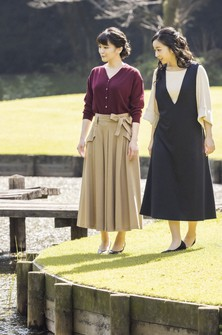 In this photo provided on Oct, 23, 2021, by the Imperial Household Agency of Japan, Japan's Princess Mako, left, the eldest daughter of Crown Prince Akishino and Crown Princess Kiko, strolls with her younger sister Princess Kako, at the garden of their Akasaka imperial property residence in Tokyo, Japan on Oct. 6, 2021, ahead of her 30th birthday on Oct. 23, 2021 and her marriage on Oct. 26, 2021.(The Imperial Household Agency of Japan via AP)