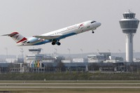 In this April 1, 2014 file photo, an Austrian Airlines airplane takes off from an airport in Munich, Germany. (AP Photo/Matthias Schrader)
