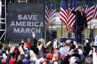 In this Jan. 6, 2021, file photo, President Donald Trump arrives to speak at a rally in Washington. (AP Photo/Jacquelyn Martin)