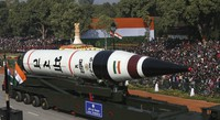 In this Jan. 26, 2013, file photo, the long range ballistic Agni-V missile is displayed during Republic Day parade, in New Delhi, India. (AP Photo/Manish Swarup)