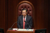 In this Oct. 6, 2021, photo, Hong Kong Legislative Council President Andrew Leung attends the policy address at the chamber of Legislative Council in Hong Kong. (AP Photo/Kin Cheung)