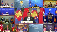 In this image released on Tuesday, Oct. 26, 2021 by Brunei ASEAN Summit, Chinese Premier Li Keqiang, center, speaks in the virtual ASEAN-China Summit on the sidelines of the Association of Southeast Asian Nations (ASEAN) summit with the leaders member states in Bandar Seri Begawan, Brunei. (Brunei ASEAN Summit via AP)