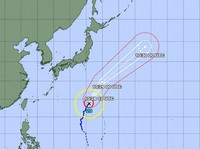 The projected course of Typhoon Malou as of 10 a.m. on Oct. 28, 2021, is seen in this image from the Japan Meteorological Agency website.